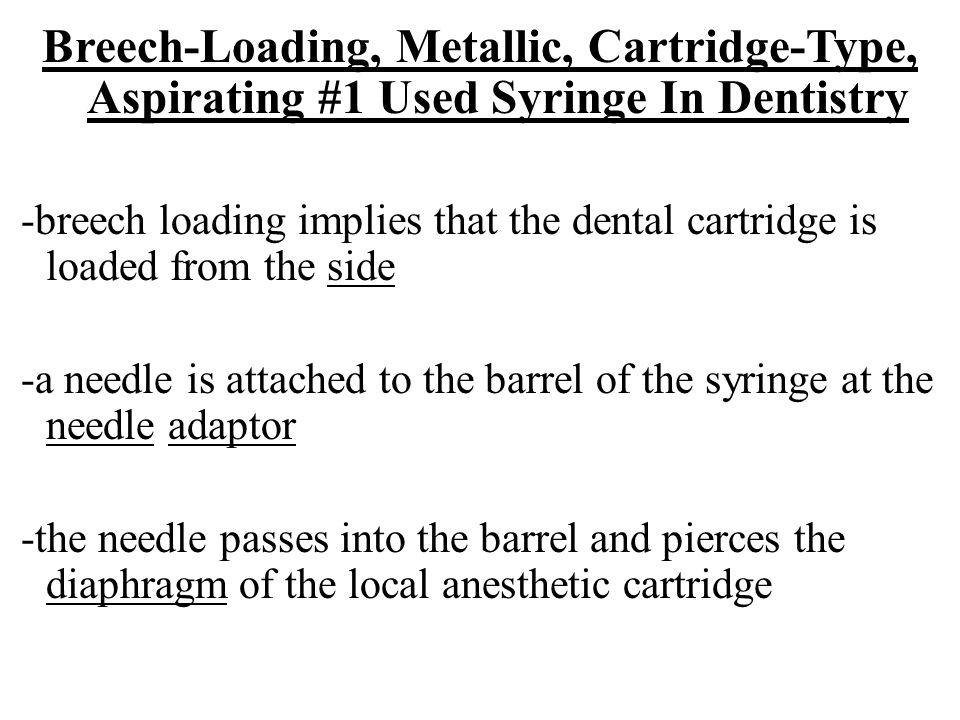 Breech-Loading, Metallic, Cartridge-Type, Aspirating #1 Used Syringe In Dentistry