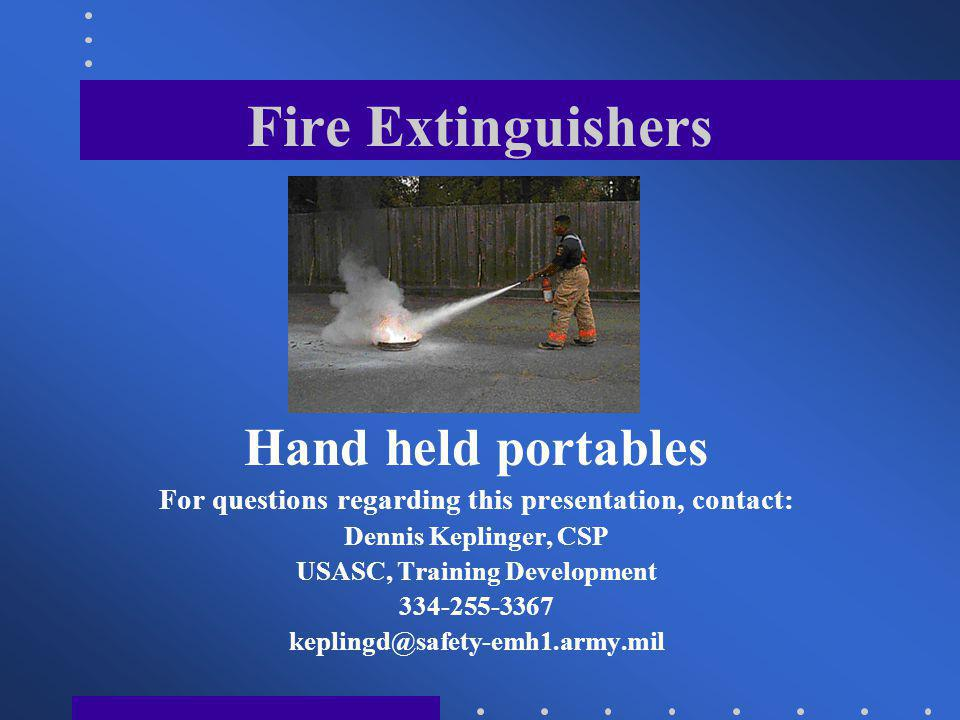 Fire Extinguishers Hand held portables