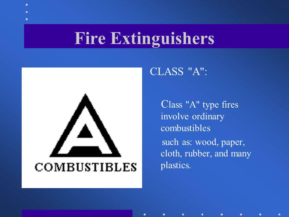 Fire Extinguishers CLASS A :