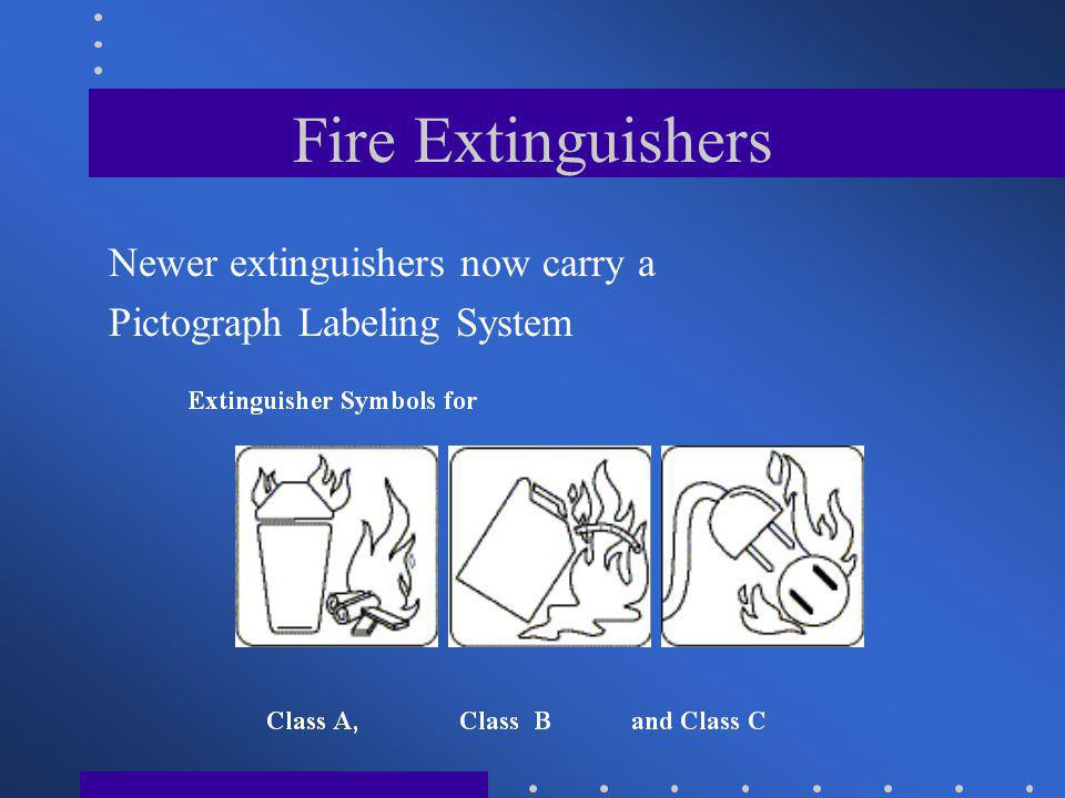 Fire Extinguishers Newer extinguishers now carry a