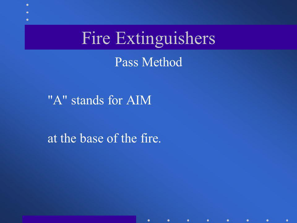 Pass Method A stands for AIM at the base of the fire.
