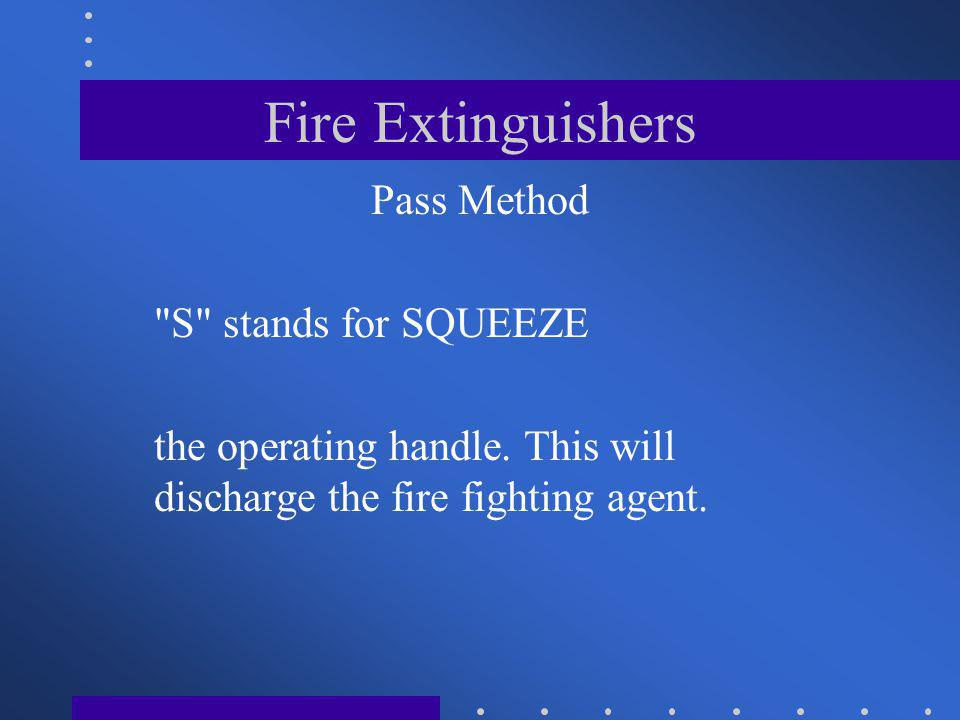 Fire Extinguishers Pass Method S stands for SQUEEZE