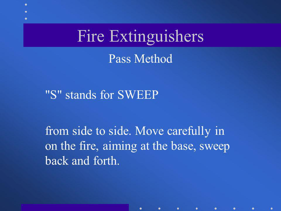 Fire Extinguishers Pass Method S stands for SWEEP