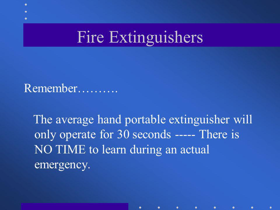 Fire Extinguishers Remember……….