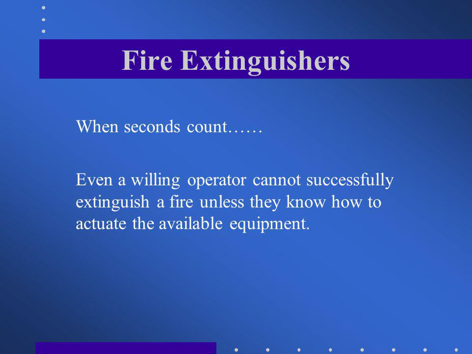 Fire Extinguishers When seconds count……