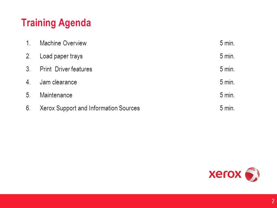 Training Agenda Machine Overview 5 min. Load paper trays 5 min.