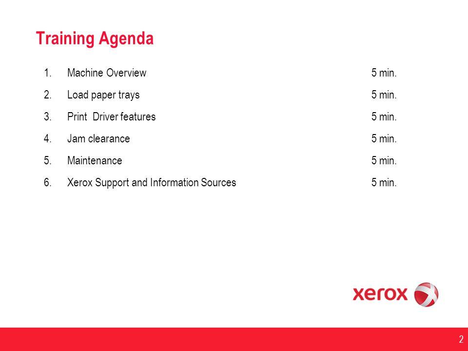 Training Agenda Machine Overview 5 min. Load paper trays 5 min.