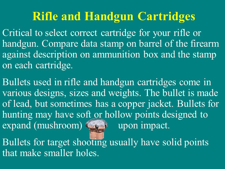Rifle and Handgun Cartridges