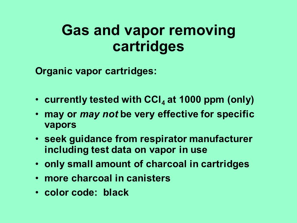 Gas and vapor removing cartridges