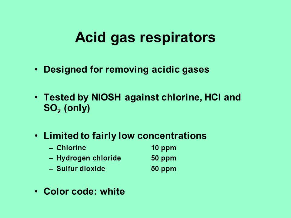 Acid gas respirators Designed for removing acidic gases