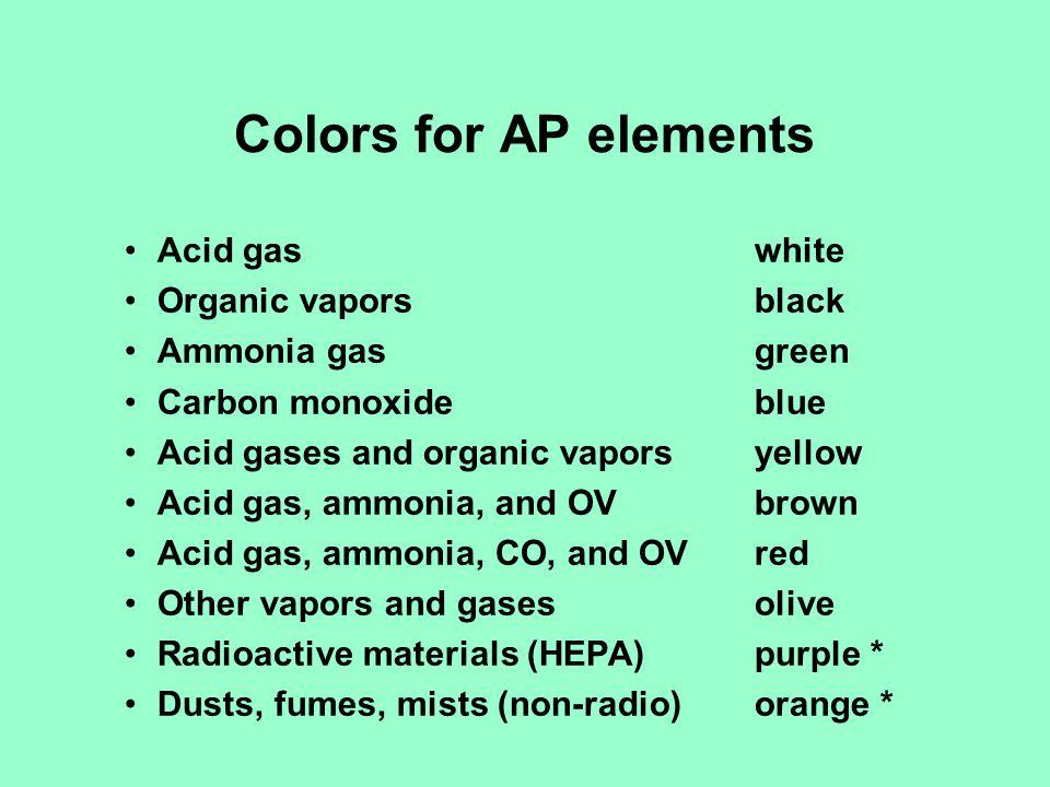 Colors for AP elements Acid gas white Organic vapors black