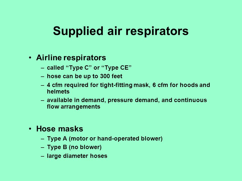 Supplied air respirators
