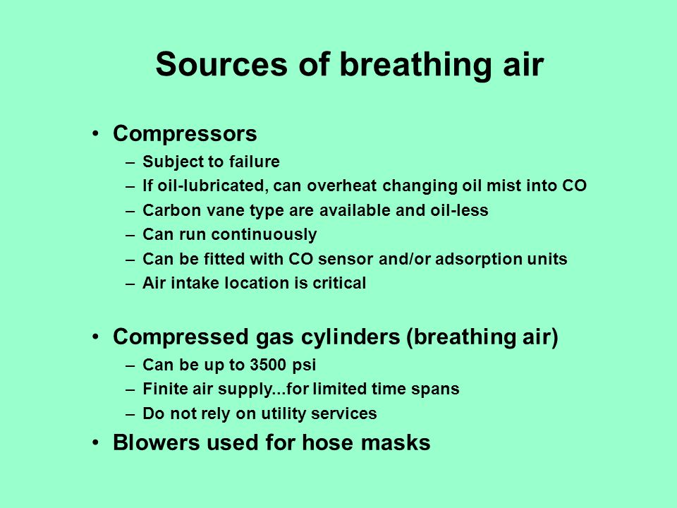 Sources of breathing air