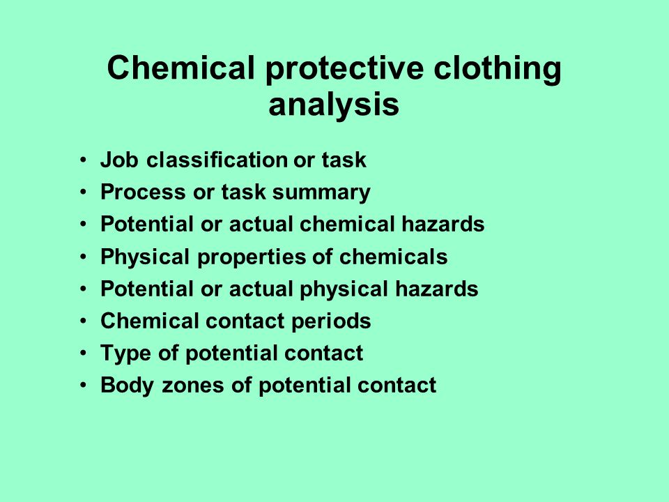Chemical protective clothing analysis