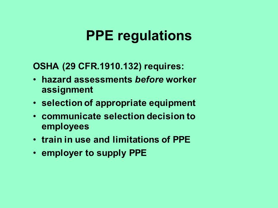 PPE regulations OSHA (29 CFR.1910.132) requires: