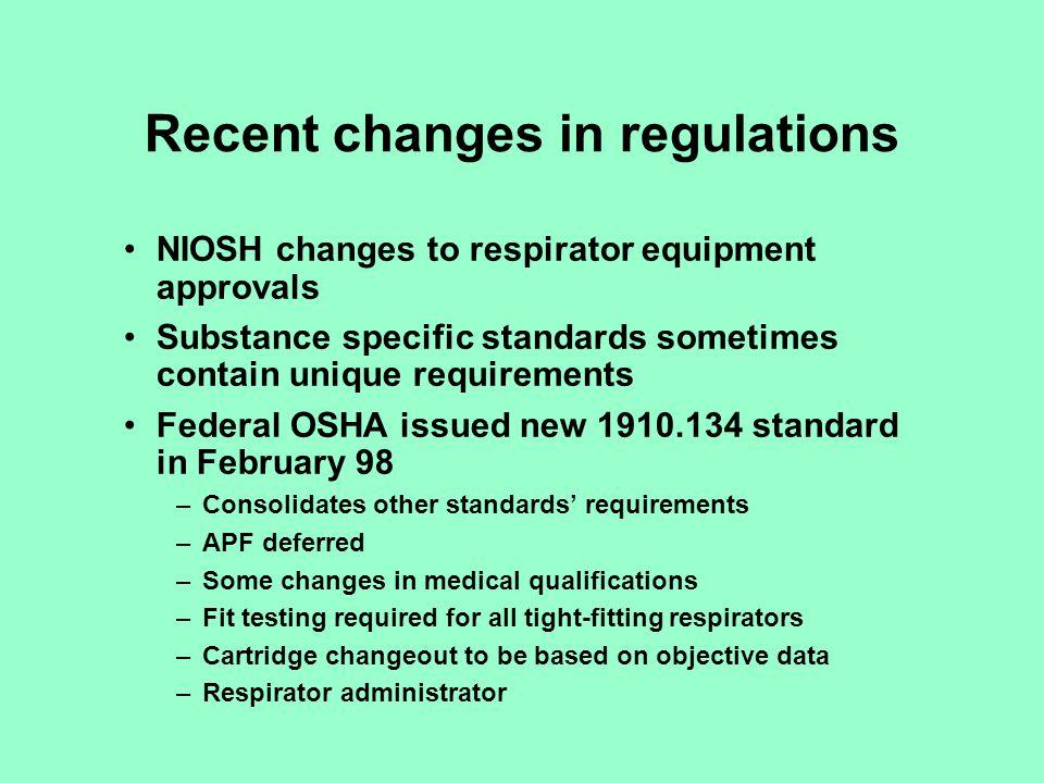 Recent changes in regulations