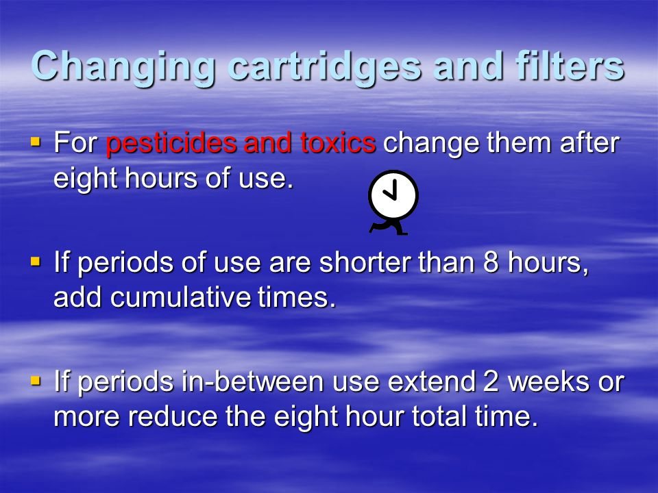 Changing cartridges and filters