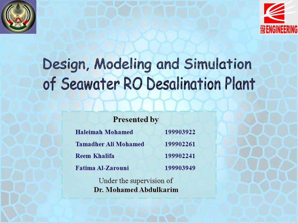 Design, Modeling and Simulation of Seawater RO Desalination Plant