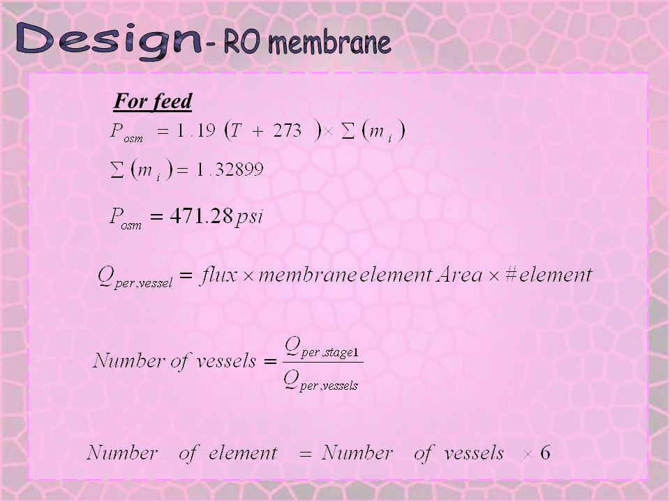 Design - RO membrane For feed