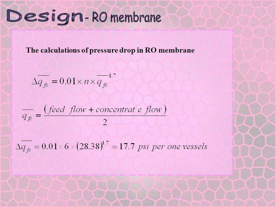 Design - RO membrane The calculations of pressure drop in RO membrane