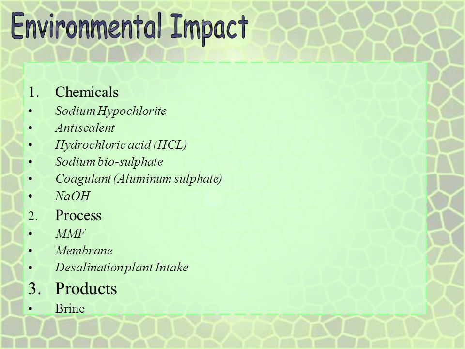Environmental Impact Products Chemicals Sodium Hypochlorite