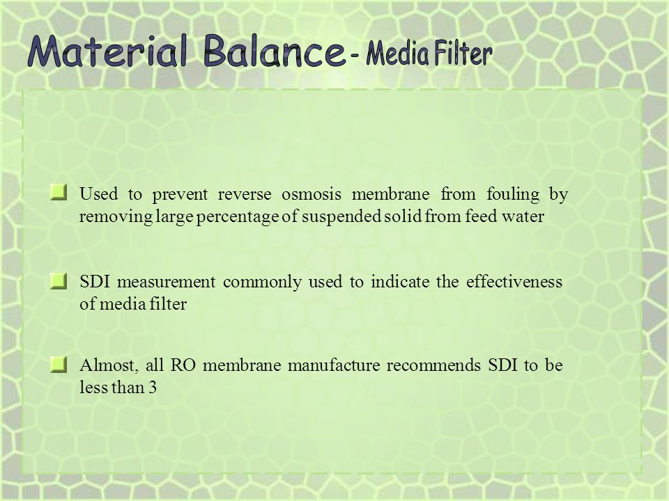 Material Balance - Media Filter