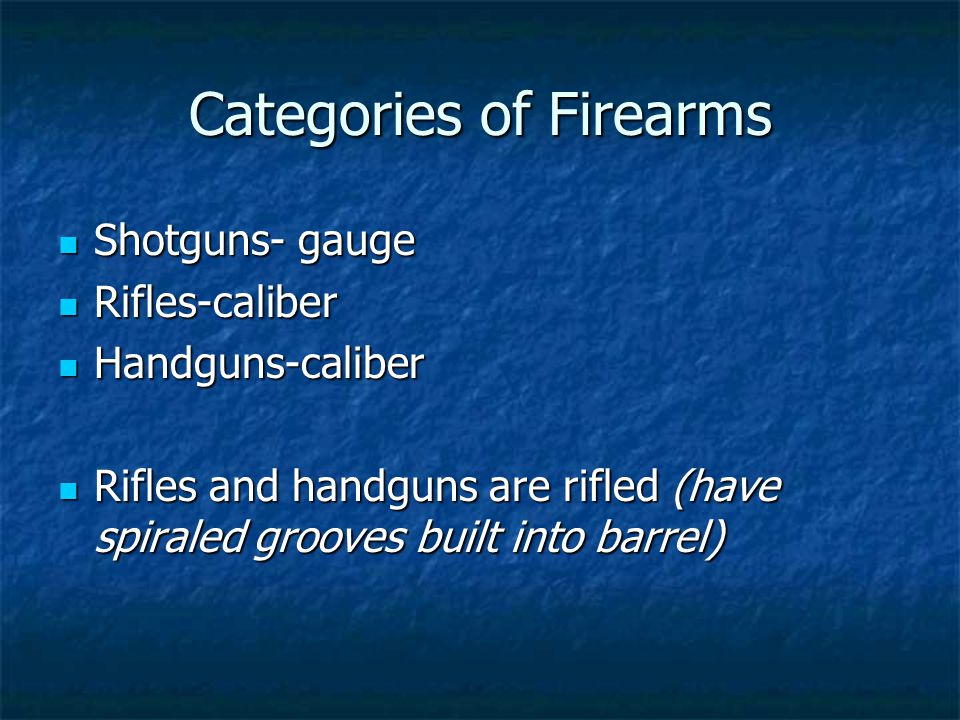 Categories of Firearms