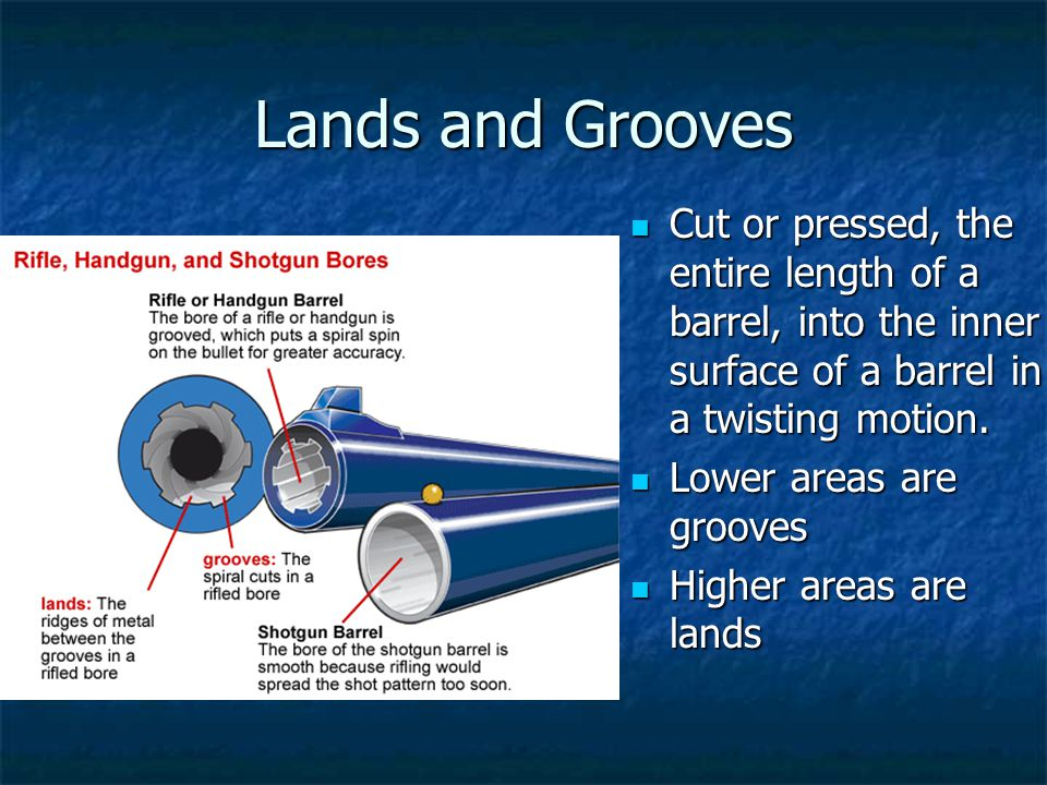 Lands and Grooves Cut or pressed, the entire length of a barrel, into the inner surface of a barrel in a twisting motion.