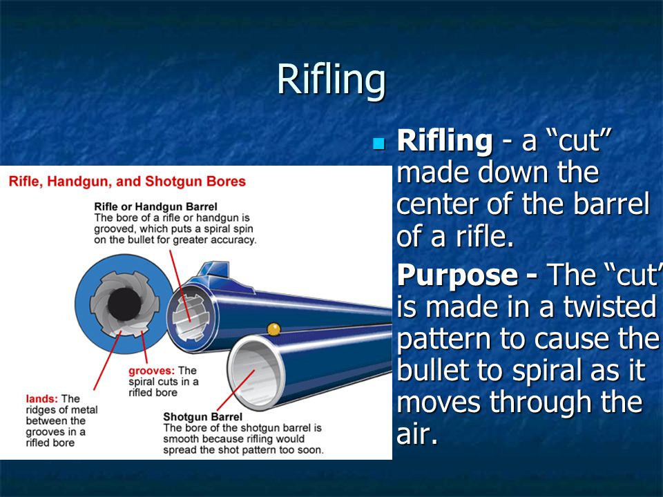 Rifling Rifling - a cut made down the center of the barrel of a rifle.