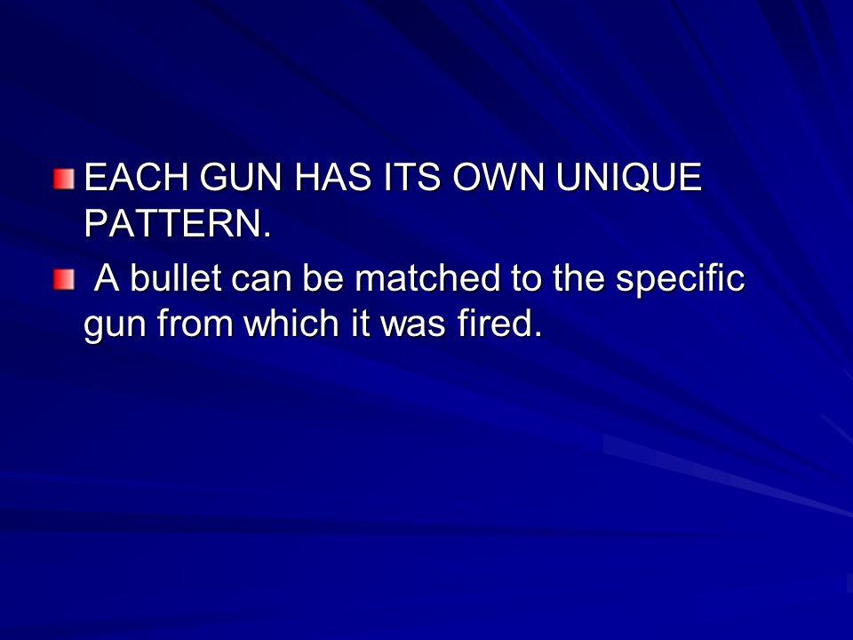 EACH GUN HAS ITS OWN UNIQUE PATTERN.