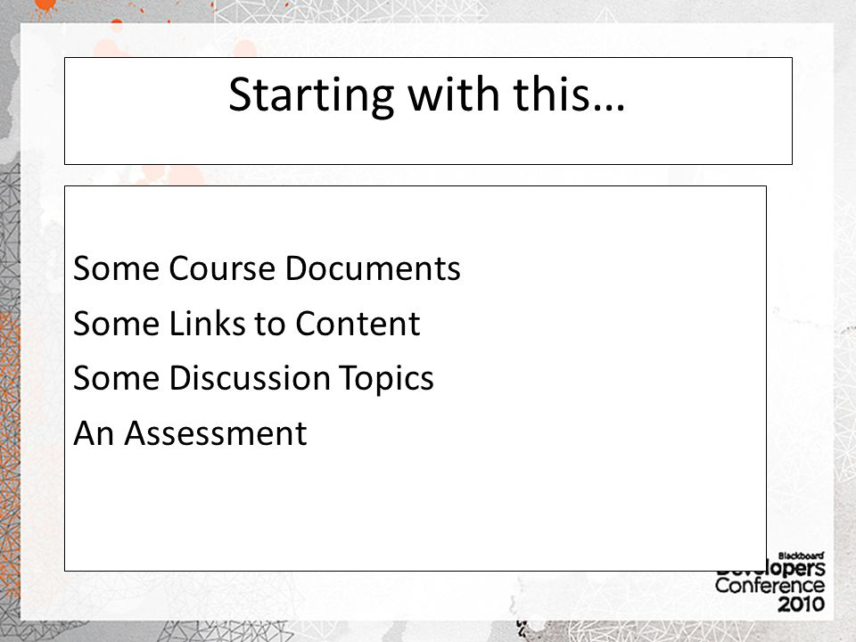 Starting with this… Some Course Documents Some Links to Content