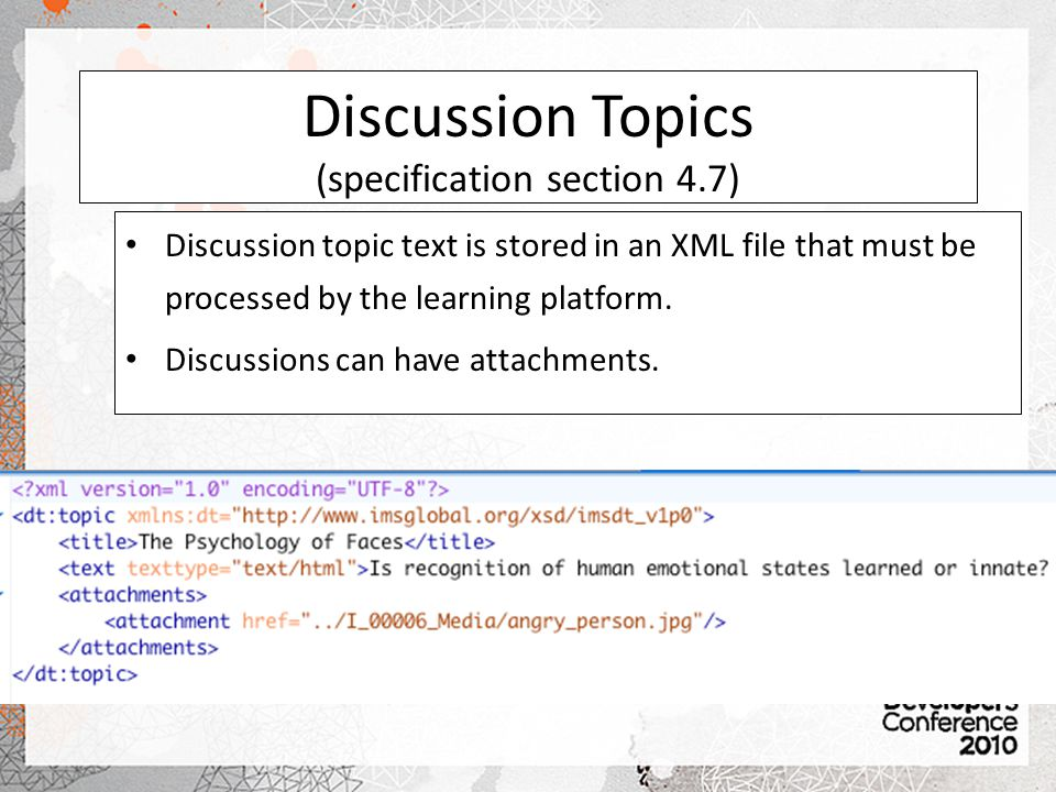 Discussion Topics (specification section 4.7)