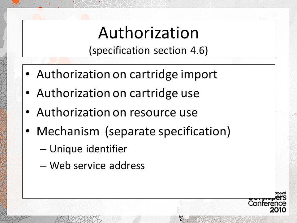 Authorization (specification section 4.6)