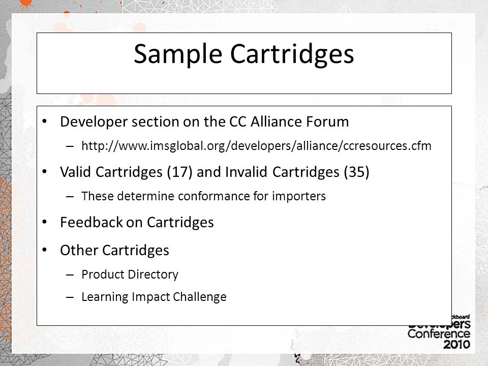 Sample Cartridges Developer section on the CC Alliance Forum