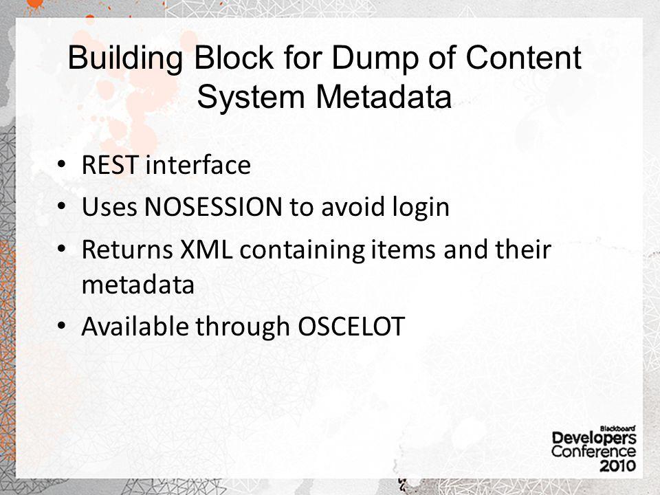 Building Block for Dump of Content System Metadata
