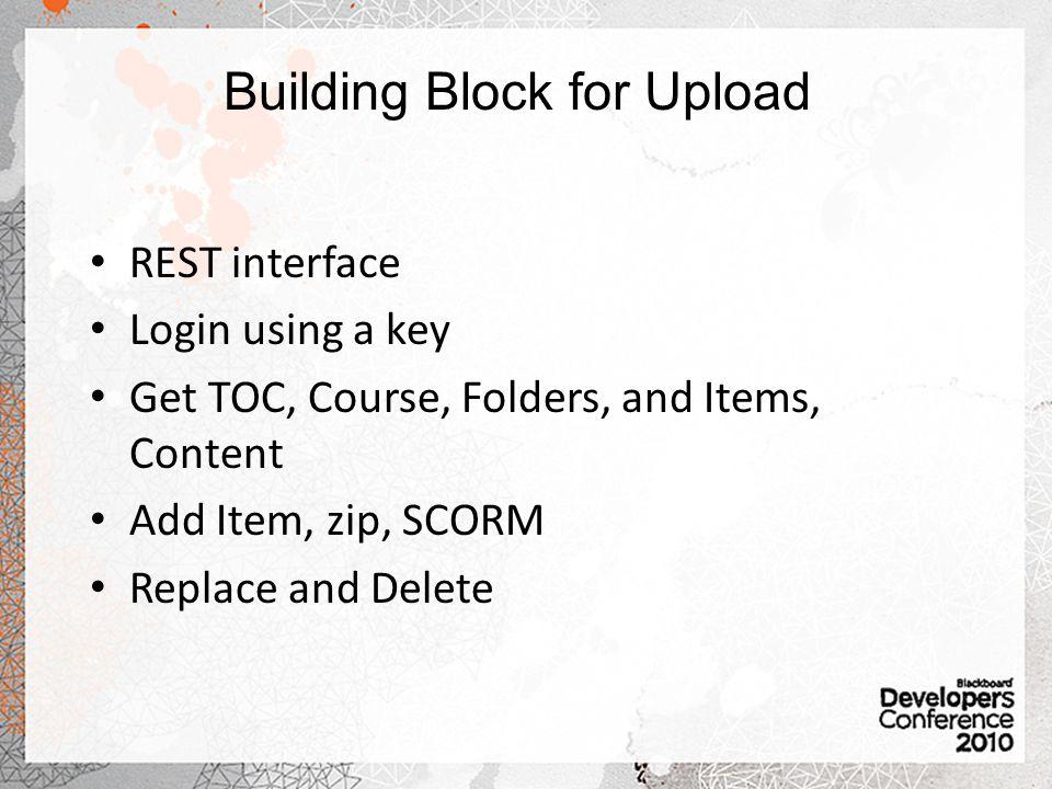 Building Block for Upload