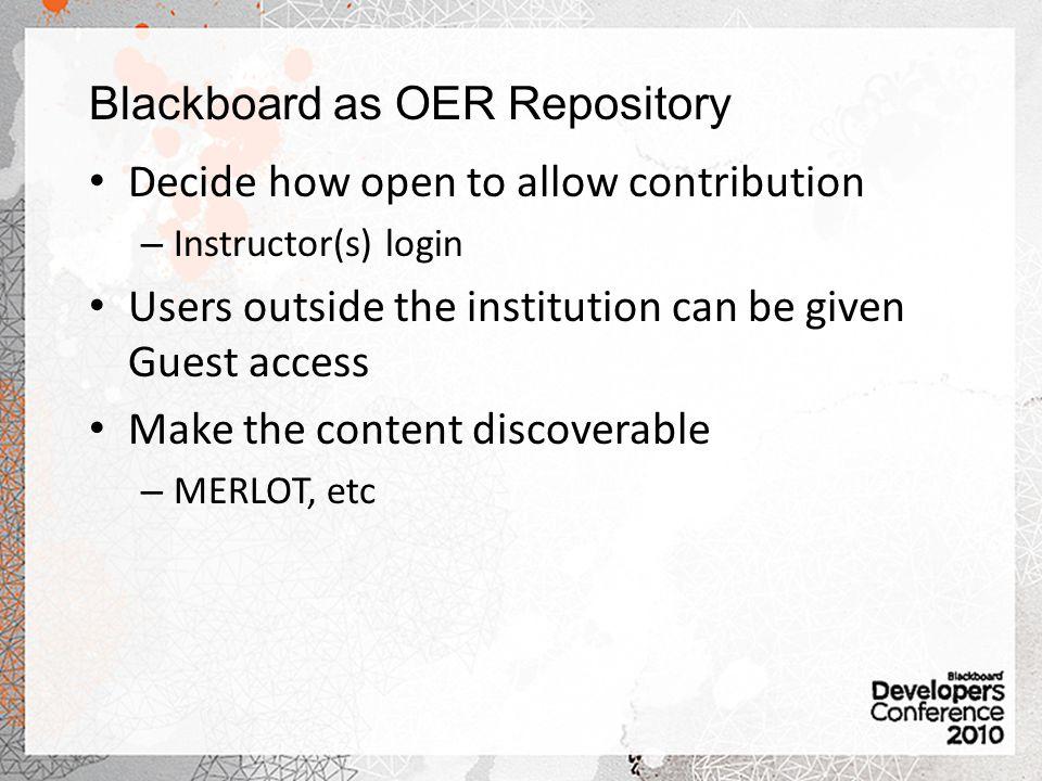 Blackboard as OER Repository