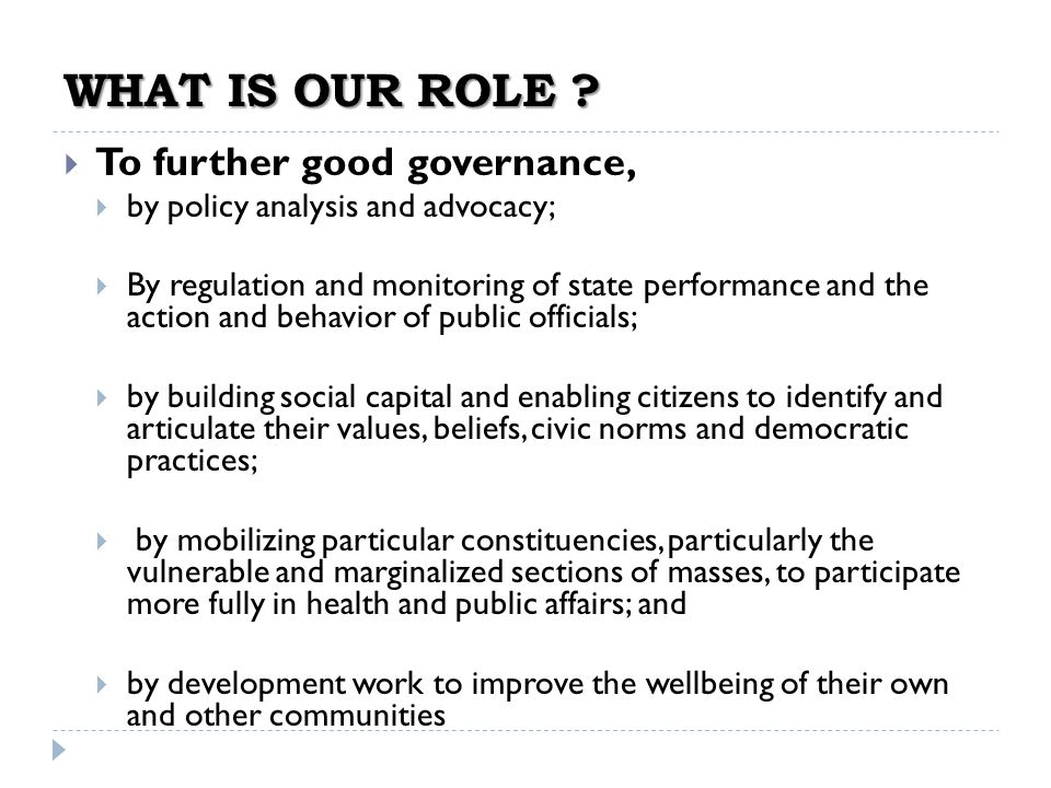 WHAT IS OUR ROLE To further good governance,