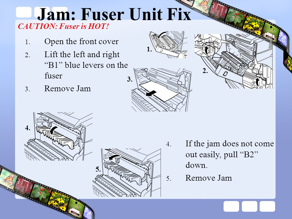 Jam: Fuser Unit Fix Open the front cover