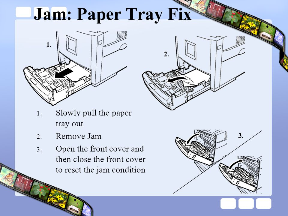 Jam: Paper Tray Fix Slowly pull the paper tray out Remove Jam