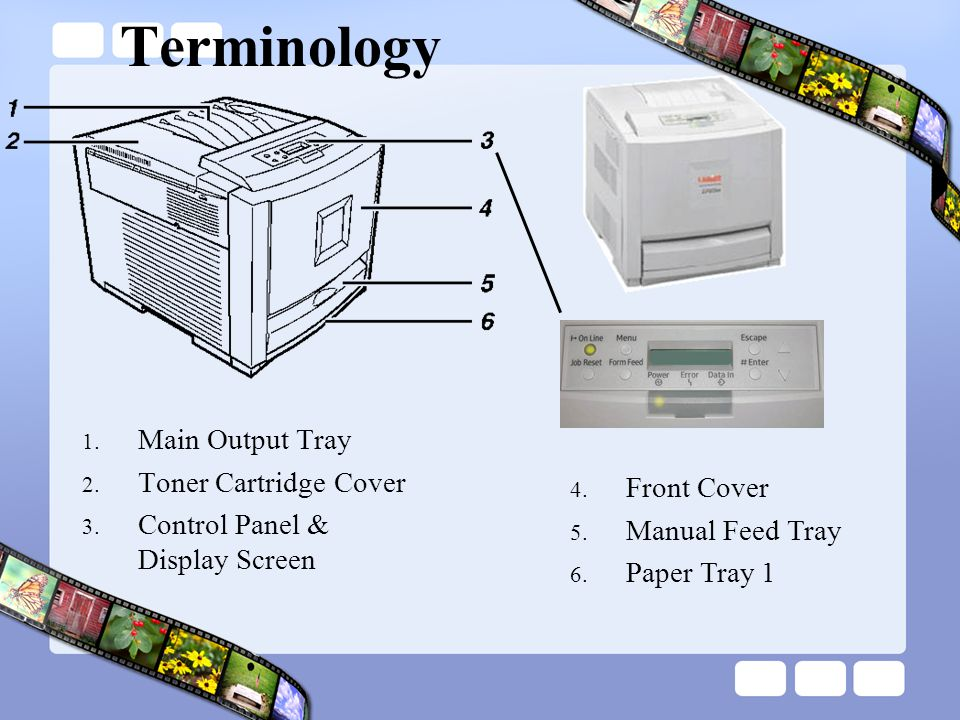 Terminology Main Output Tray Toner Cartridge Cover