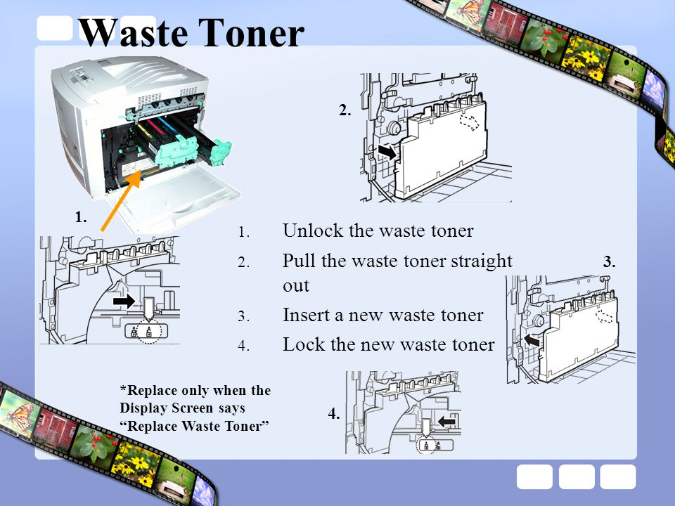 Waste Toner Unlock the waste toner Pull the waste toner straight out