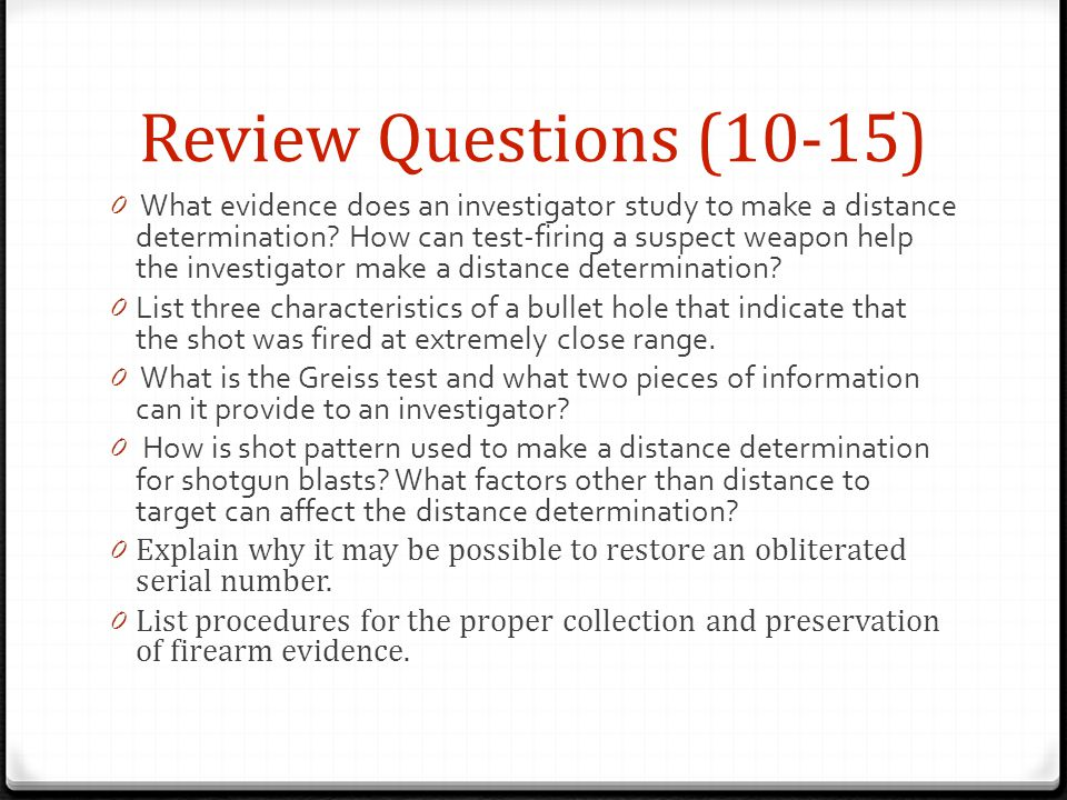 Review Questions (10-15)