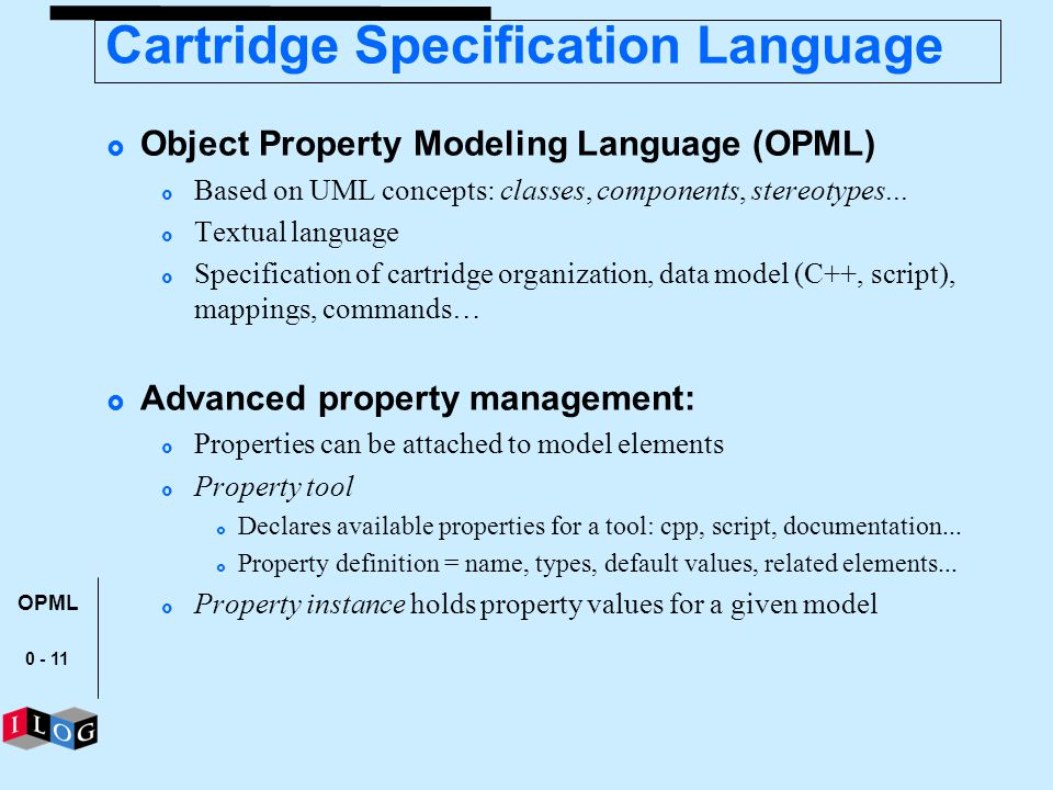 Cartridge Specification Language