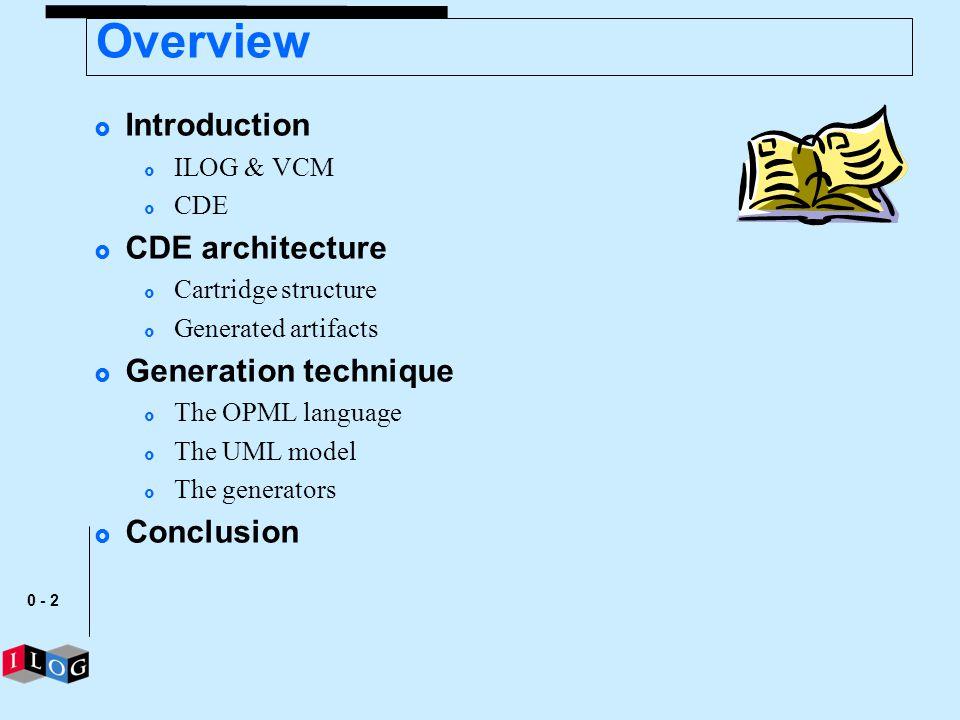 Overview Introduction CDE architecture Generation technique Conclusion