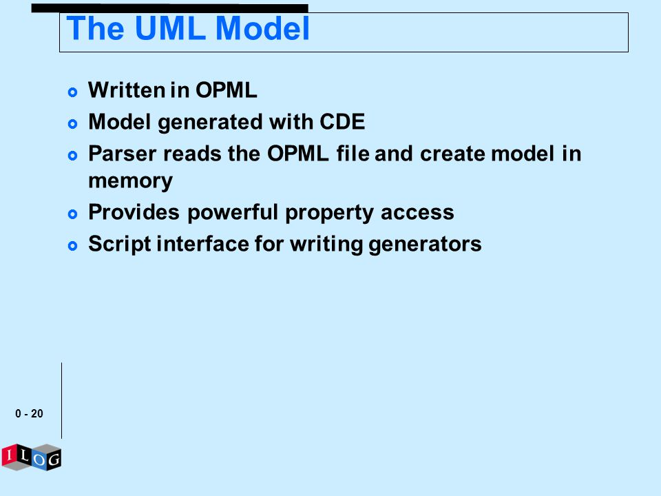 The UML Model Written in OPML Model generated with CDE