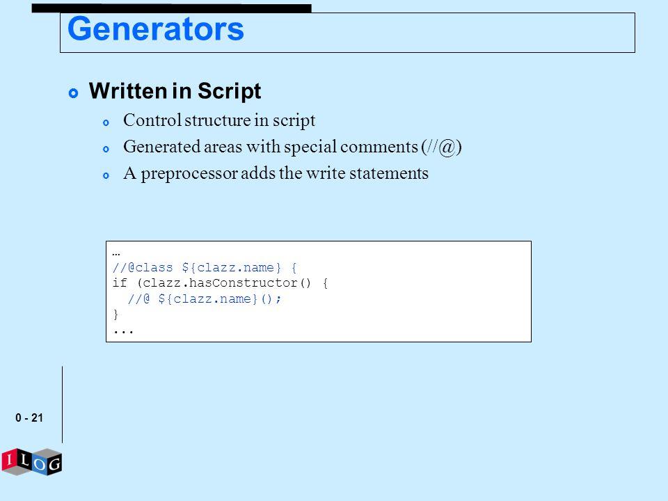 Generators Written in Script Control structure in script