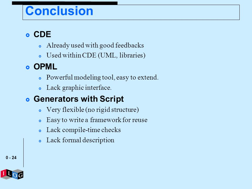 Conclusion CDE OPML Generators with Script