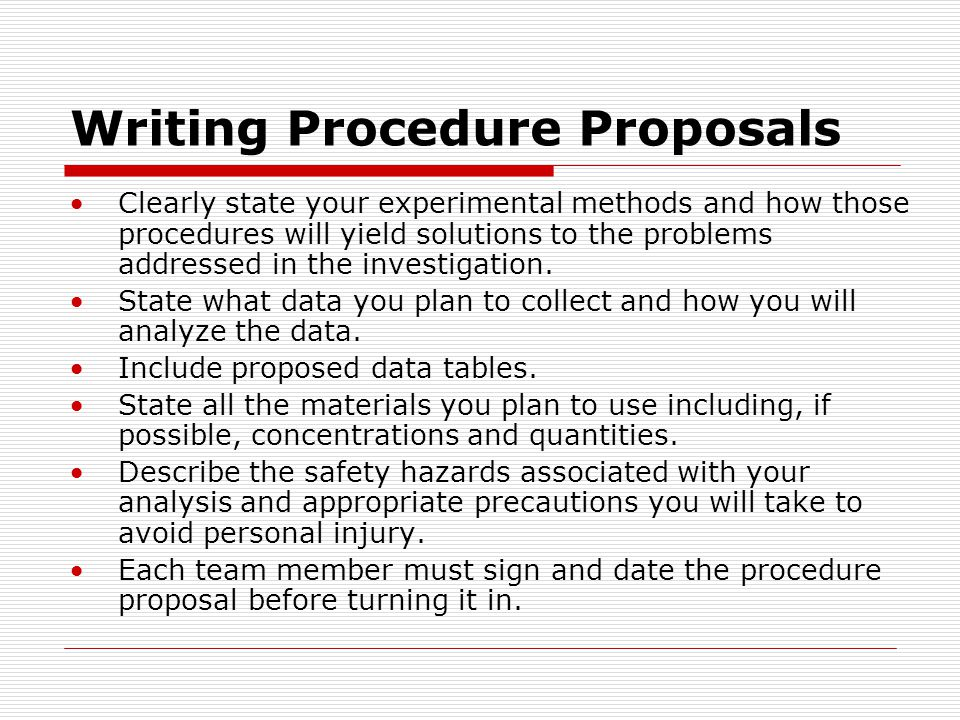 Writing Procedure Proposals