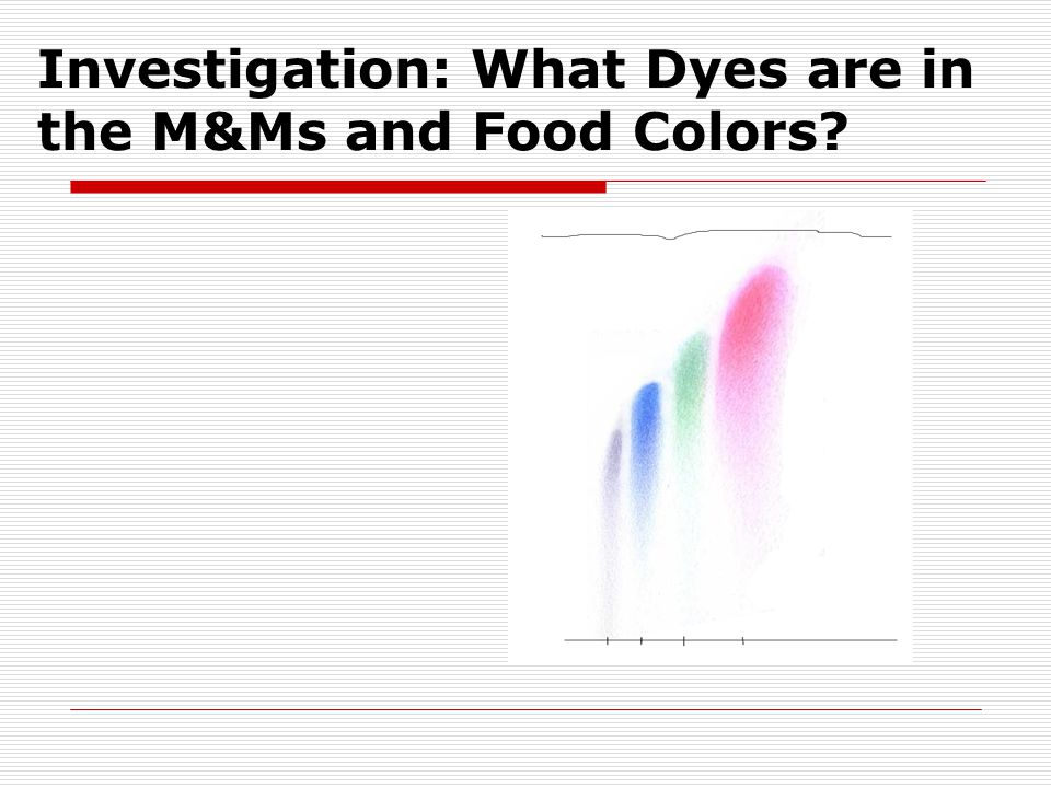 Investigation: What Dyes are in the M&Ms and Food Colors